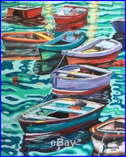 BEACH Boats Original Art PAINTING by DAN BYL Contemporary Canvas Large 4x5 feet