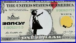 Banksy art rare dollar canvas''Girl with baloon'' with original Dismaland