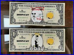 Banksy art set of 10 dollars VERY RARE original canvas from Dismaland CAO