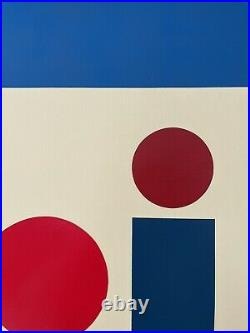Bauhaus / Midcentury Geometric Op Art Abstract Painting on Canvas, 24x30 Signed