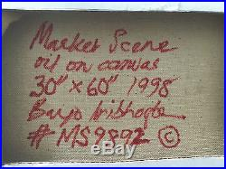 Bayo Iribhogbe African MARKET SCENE original oil on canvas 1998