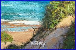 Beach oil painting Impressionist sand dunes surf linen canvas Ocean Seascape