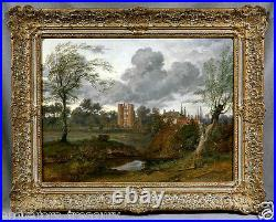 Beautiful 19th Century Castle Landscape (oil on canvas signed painting)