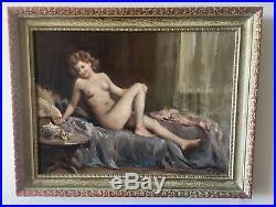 Beautiful Nude Original oil On Canvas painting Attilio TORO Italian (1892-1982)