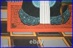 Beautiful Vintage African American Portrait Painting Folk Art Victorian Signed