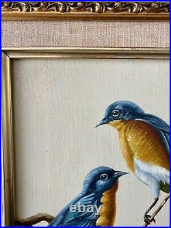 Beautiful Vintage Signed Evans Oil on Canvas Blue Birds Of Happiness Painting