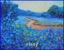 Bluebonnets. Original framed oil on canvas 8x10 impressionistic painting