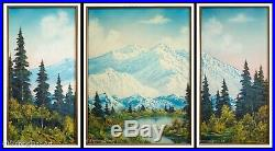 Bob Ross Original Oil Painting Triptych Mountain Landscape with COA's, STUNNING