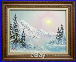 Bob Ross Signed Original Oil on Canvas Painting Mountain Scene Contemporary Art