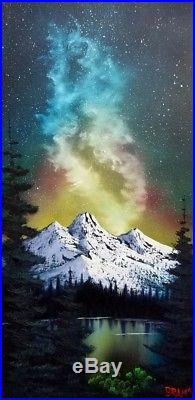 Bob Ross Style Original Oil Painting Milky Way Mountain on 24x12 Inch Canvas