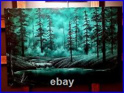 Bob Ross Style Original Oil Painting Mistlands 24x36 canvas