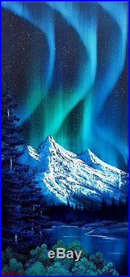 Bob Ross Style Original Oil Painting Northern Lights on 24x12 Inch Canvas