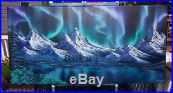 Bob Ross Style Original Oil Painting Northern Lights on HUGE 24x48 inch canvas