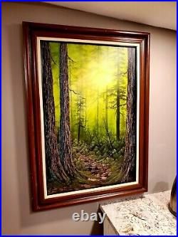 Bob Ross Style Original Oil Painting as the forest turns 24x36 canvas