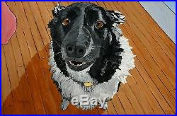 Border Collie Dog Portrait Original Acrylic Animal Painting On Canvas Signed