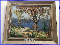 Bouthillier Autumn North Beach 1930 Original Oil Board Landscape Painting signed