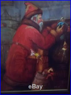 C RARE Pipka Original Art For Christmas Figurine Oil on Canvas Santa 38 x 31.5