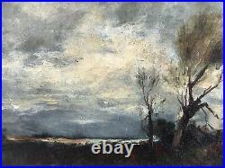 C1885 American School Tonalist Oil On Canvas Landscape Signed M Wakeman