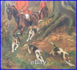C1930 Original Framed CANVAS OIL PAINTING Fox Hunt Horses Dogs Signed T. Kimpel