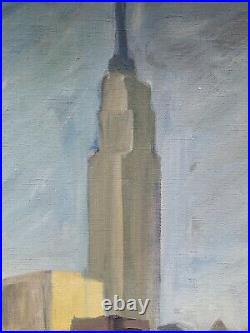 C1940s New York Modern School Painting Of New York City Empire State Building
