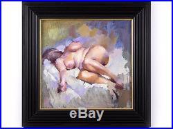 C1980 Robert Lenkiewicz Lilac Nude Original Oil on Canvas