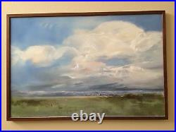 CAROL LOPEZ- FOOTHILLS, BILLOWING CLOUDS Original Oil Painting Canada Mountains