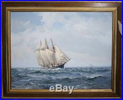 CHARLES VICKERY BEAUTIFUL Original Oil on Canvas Clipper Under Sail