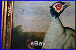 Caine, original oil on canvas, Birds & Landscape Antique, Signed, Framed