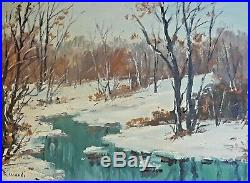 Cesare Ricciardi (1892-1973) Original Oil on Board Winter Landscape Painting