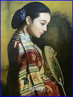Chinese Asian Lady Large Original Oil Painting on Canvas With Frame-High Quality
