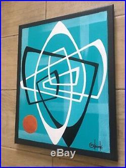 Clee Sobieski Painting Abstract Mid Century Modern Retro Eames Geometric Atomic