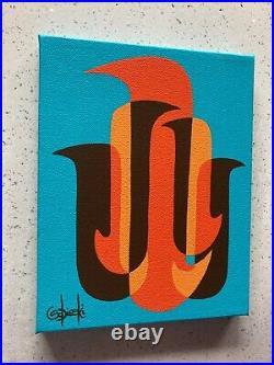 Clee Sobieski Painting Mid Century Modern Abstract Mod Retro Pop Love Birds