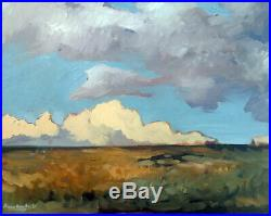 Cloud Horizon Landscape Impressionist Original Oil Painting Signed 16x20