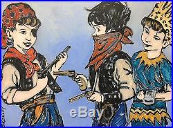 DAVID BROMLEY Children Series Dress Ups Original Polymer on Canvas 90 x 120cm