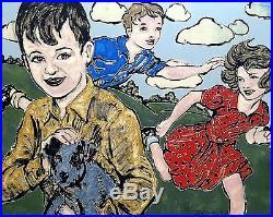 DAVID BROMLEY Children at Play Original Polymer on Canvas 120cm x 150cm