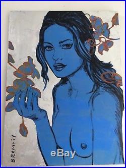 David Bromley Original Lisa Silver Leaf Painting On Canvas 90cm x 120cm