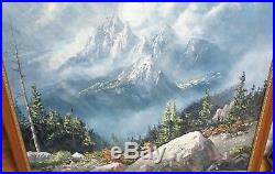 Don Foster Large Original Oil On Canvas Mountain Landscape Painting Dated 1983