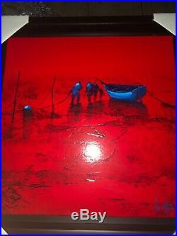 Duex contre le monde. An original oil on lenin painting by Denis Lebecq