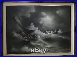 EUGENE GARIN Original Painting Large Oil On Canvas Signed Seascape Artwork Waves