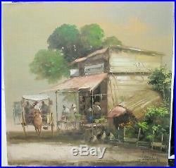 Edgardo Sarmiento Philippines Store Front Scene Original Oil On Canvas Painting