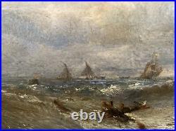 Edwin Hayes (1820-1904) On the coast Dunstanborough Northumberland Oil Panel