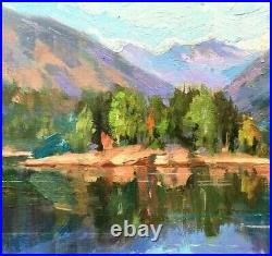 Emiliya Lane oil painting original 12x12 plein air landscape impressionism
