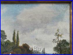 Ethel K Cole Original Signed Antique Oil Painting On Canvas River Landscape