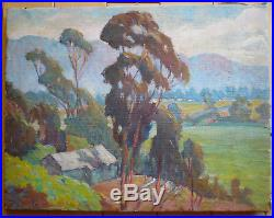 Eucalyptus School Plein Air Beauty, Ca California School Old Oil Impressionist