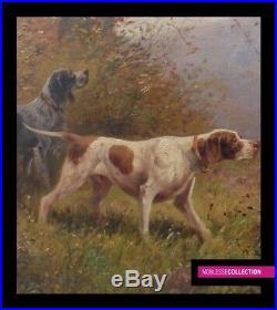 Eugene Petit 1839-1886 Antique Original Oil On Canvas Painting Hunting Scene Dog