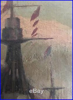 FANTASTIC! Original WW1 Era HMS Canada at the Battle of Jutland Oil on Canvas