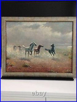 FREE AS THE WIND BY August Albo Oil Painting On Canvas Signed