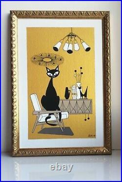 FREE SHIPPING. Mid Century Modern Atomic Cat El Gato Original Painting Wall Art