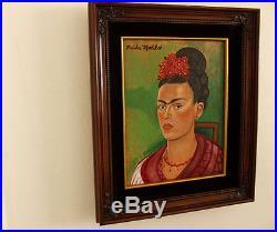 FRIDA KAHLO SIGNED Painting ON CANVAS ORIGINAL ART ARTWORK FRIDA SELF PORTRAIT