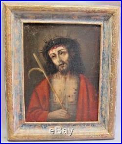 Fine 18th C. Original Oil Painting on Canvas JESUS in THORNS c. 1750 antique